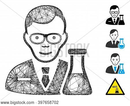 Vector Wire Frame Chemist. Geometric Wire Frame 2d Network Generated With Chemist Icon, Designed Wit