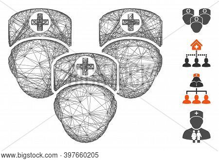 Vector Network Consultation Medic Group. Geometric Wire Frame Flat Network Generated With Consultati