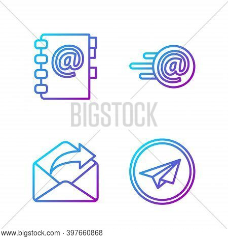 Set Line Paper Plane, Outgoing Mail, Address Book And Mail And E-mail. Gradient Color Icons. Vector