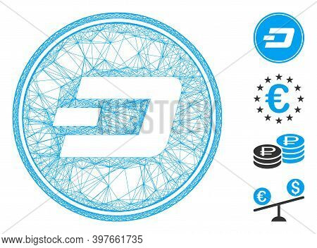 Vector Wire Frame Dash Coin. Geometric Hatched Frame Flat Network Generated With Dash Coin Icon, Des