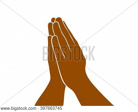 Praying Hands Religious Faith Concept Vector Simple Illustration Isolated On White.