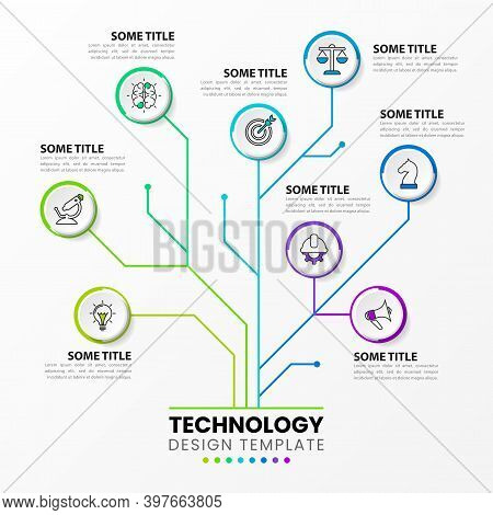 Infographic Design Template. Technology Concept With 8 Steps. Can Be Used For Workflow Layout, Diagr
