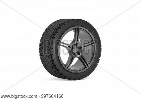 Car Wheel - Rim With A Tire For A Passenger Car Isolated On A White Background - 3d Render