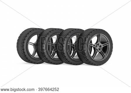 Set Of Four Car Wheels - Rims With Tires For Passenger Car Isolated On White Background - 3d Render