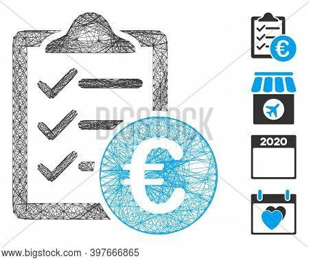 Vector Wire Frame Euro Purchase Pad. Geometric Wire Frame 2d Net Made From Euro Purchase Pad Icon, D