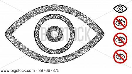 Vector Wire Frame Eye. Geometric Wire Frame 2d Net Made From Eye Icon, Designed From Crossing Lines.