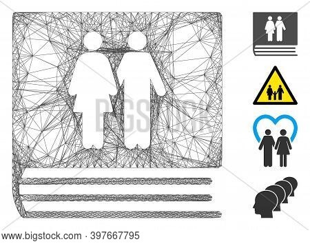 Vector Wire Frame Family Album. Geometric Wire Carcass 2d Network Generated With Family Album Icon,