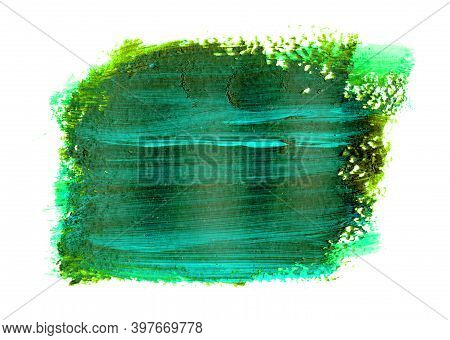 Green Brushstroke With Blue Flecks And Texture. Grunge Abstract Hand-painted Element.