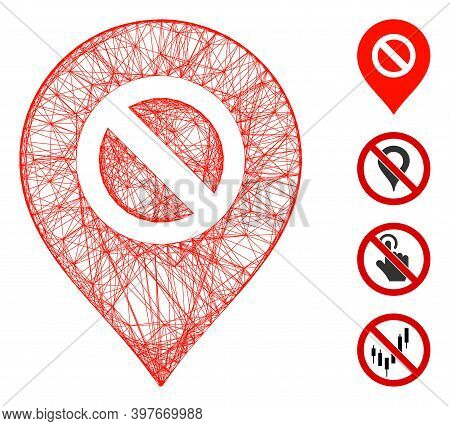 Vector Wire Frame Forbidden Marker. Geometric Wire Frame 2d Net Generated With Forbidden Marker Icon