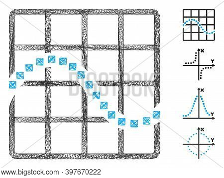 Vector Net Function Chart. Geometric Wire Frame Flat Net Made From Function Chart Icon, Designed Fro