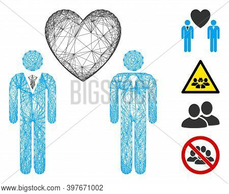 Vector Wire Frame Gay Lovers. Geometric Wire Frame Flat Network Made From Gay Lovers Icon, Designed
