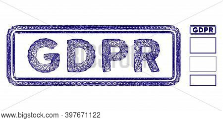 Vector Wire Frame Gdpr Rectangle. Geometric Wire Frame 2d Network Based On Gdpr Rectangle Icon, Desi
