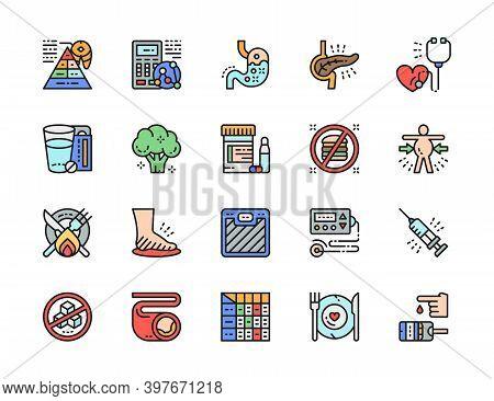 Set Of Diabetes Flat Color Icons. Heartburn, Electrocardiogram, Glucometer.