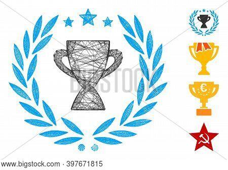 Vector Network Glory Emblem. Geometric Linear Carcass Flat Network Made From Glory Emblem Icon, Desi