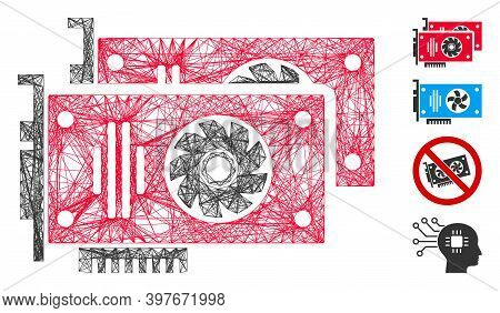 Vector Wire Frame Graphic Accelerator Cards. Geometric Wire Frame Flat Net Made From Graphic Acceler