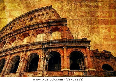 The Colosseum in Rome with ancient texture