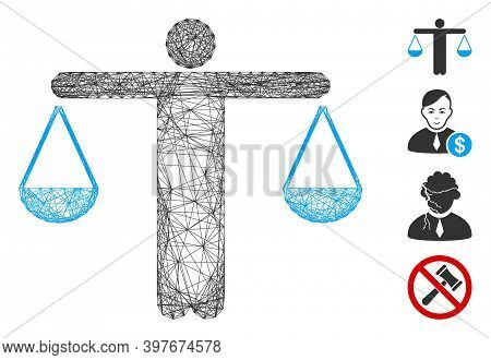 Vector Net Lawyer Weight. Geometric Hatched Carcass Flat Net Made From Lawyer Weight Icon, Designed