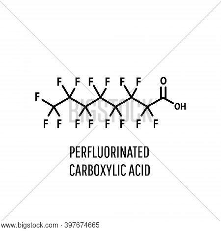 Molecular Structure Of Perfluorooctanoic Acid, Pfoa, Perfluorooctanoate Carcinogenic. Skeletal Formu