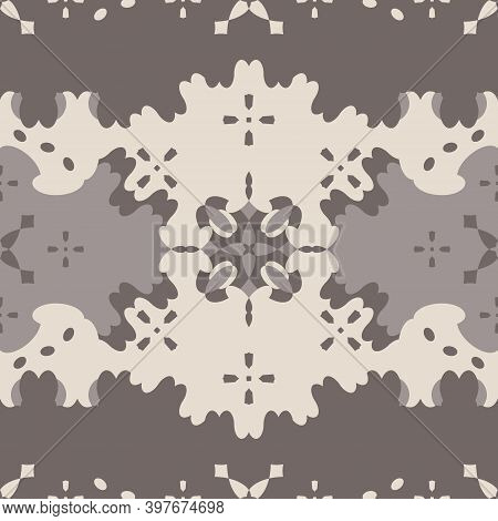 Seamless Pattern Retro, Vintage. Chocolate Color And Cream Ivory. Spirals And Abstract. Vector.