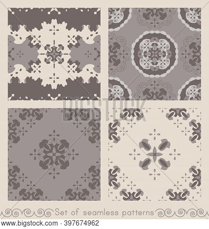 Set Of Seamless Patterns Retro, Vintage. Chocolate Color, Cream Ivory And Grey. Spirals And Abstract