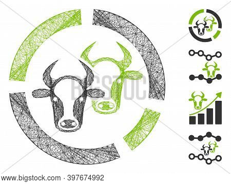 Vector Wire Frame Livestock Diagram. Geometric Wire Frame 2d Network Generated With Livestock Diagra