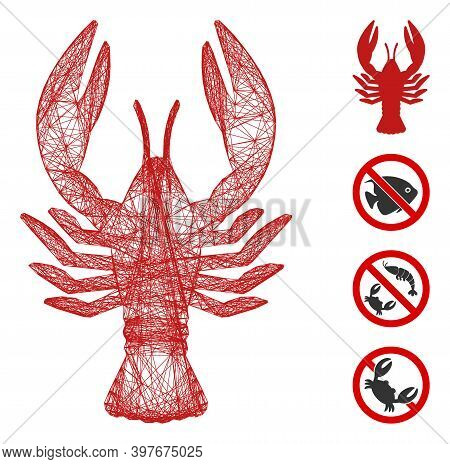 Vector Network Lobster. Geometric Linear Carcass 2d Network Generated With Lobster Icon, Designed Wi