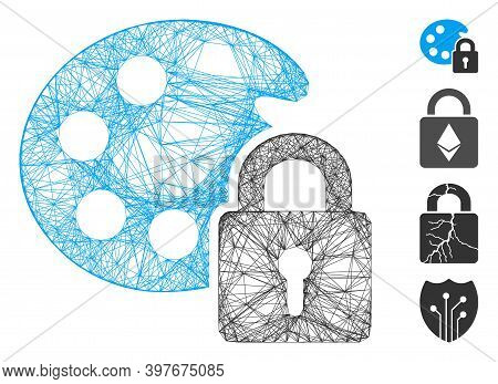 Vector Wire Frame Lock Palette. Geometric Wire Frame Flat Network Made From Lock Palette Icon, Desig