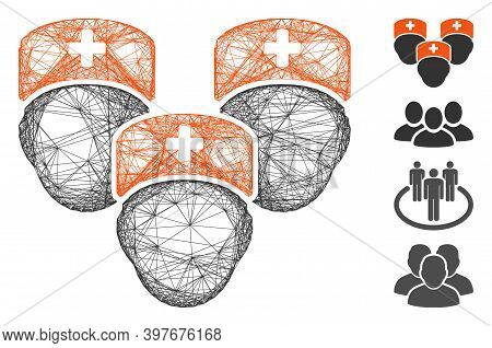 Vector Wire Frame Medical Staff. Geometric Wire Frame 2d Network Made From Medical Staff Icon, Desig
