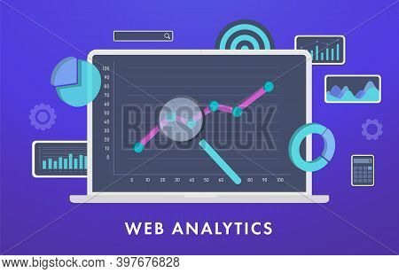 Web Analytics, Statistical Data Analysis And Metrics Concept. Laptop Computer With Graph And Charts