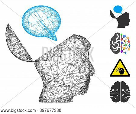 Vector Wire Frame Open Mind Opinion. Geometric Wire Frame 2d Net Generated With Open Mind Opinion Ic