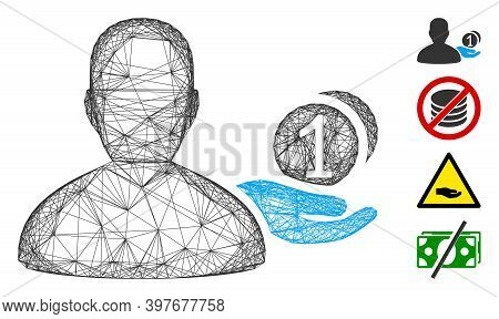 Vector Network Panhandler. Geometric Hatched Carcass Flat Network Generated With Panhandler Icon, De