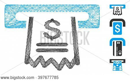 Vector Network Paper Receipt Machine. Geometric Linear Carcass Flat Network Made From Paper Receipt