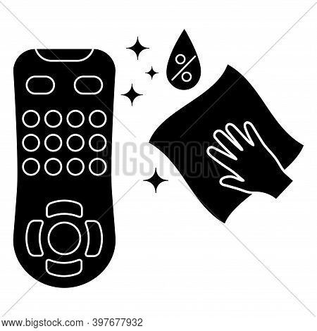 Sanitizing Of Tv Remote. Remote Control Disinfection. Disinfection Of Tv Clicker Using Antibacterial