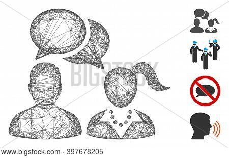 Vector Net People Dating Chat. Geometric Wire Frame 2d Net Generated With People Dating Chat Icon, D