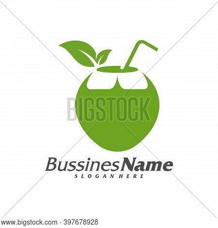 Coconut Logo Vector Template, Creative Coconut Logo Design Concepts, Icon Symbol, Illustration