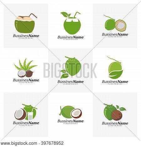 Set Of Coconut Logo Vector Template, Creative Coconut Logo Design Concepts, Icon Symbol, Illustratio