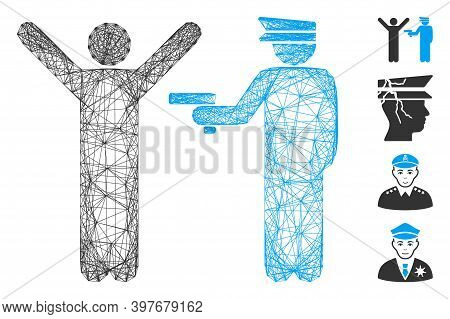 Vector Net Police Arrest. Geometric Linear Frame 2d Net Made From Police Arrest Icon, Designed From