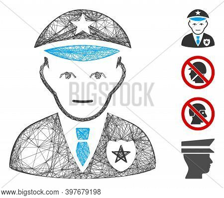 Vector Wire Frame Policeman. Geometric Wire Frame 2d Network Generated With Policeman Icon, Designed