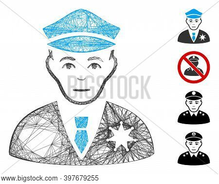 Vector Network Policeman. Geometric Linear Carcass Flat Network Made From Policeman Icon, Designed F