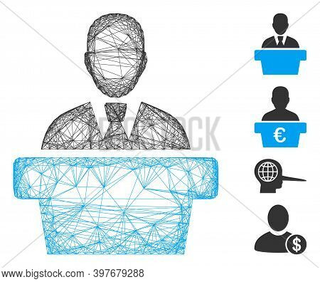 Vector Wire Frame Politician. Geometric Wire Frame Flat Net Made From Politician Icon, Designed From