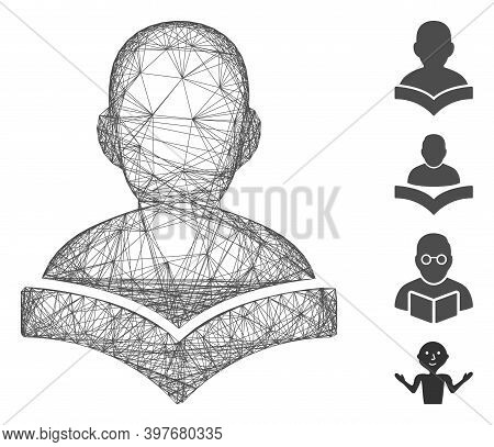 Vector Wire Frame Reader Student. Geometric Wire Carcass 2d Network Made From Reader Student Icon, D