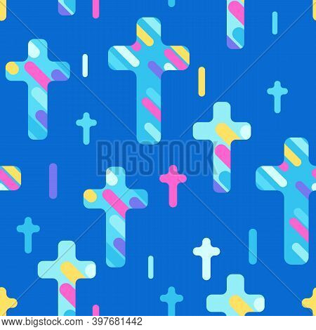 Happy Easter Seamless Pattern With Crosses. Background With Religious Symbol Of Faith.