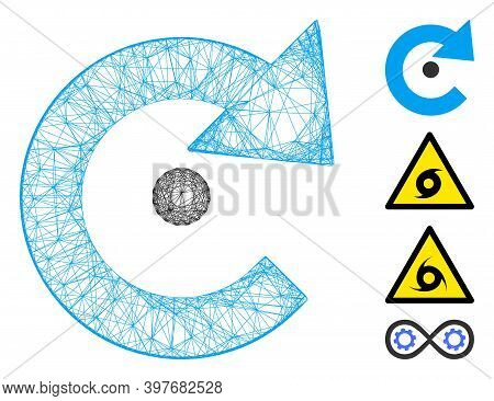 Vector Net Rotation Center. Geometric Hatched Carcass 2d Net Made From Rotation Center Icon, Designe