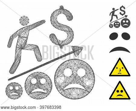 Vector Wire Frame Sad Business Growth. Geometric Wire Frame Flat Net Generated With Sad Business Gro