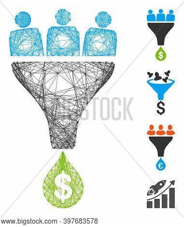 Vector Net Sales Funnel. Geometric Hatched Carcass Flat Net Generated With Sales Funnel Icon, Design