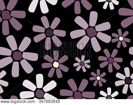 Colourful Flowers In Mauve Shades And Leaves A Vector Seamless Illustration. Useful For Interior Déc
