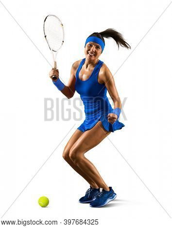 Female tennis player in action isolated on white background
