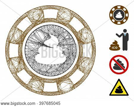 Vector Wire Frame Shit Casino Chip. Geometric Wire Carcass 2d Net Made From Shit Casino Chip Icon, D