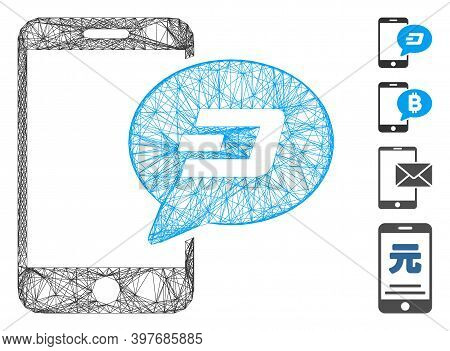 Vector Wire Frame Smartphone Dash Message. Geometric Wire Frame Flat Network Generated With Smartpho