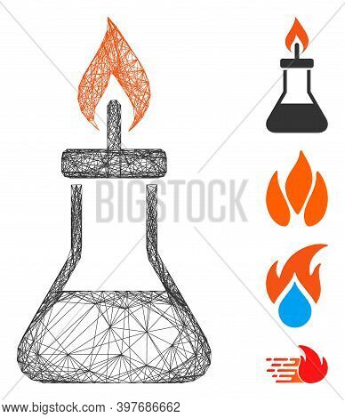 Vector Wire Frame Spirit Lamp Fire. Geometric Wire Carcass Flat Network Generated With Spirit Lamp F